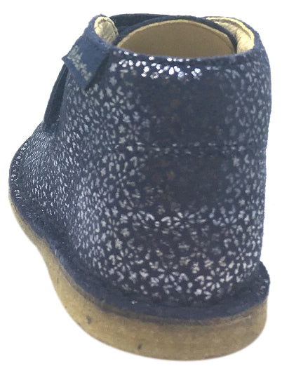 Naturino Girl's 9131 Blue Smooth Suede Floral Classic Thick Single Hook and Loop Ankle Boot