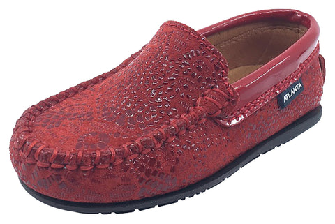 Atlanta Mocassin Girl's & Boy's Red Pebble Printed Leather with Patent Trim Slip On Moccasin Loafer Shoe