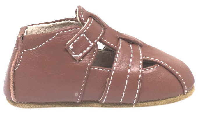 Livie & Luca Boy's Captain Soft Brown Leather Fisherman Style Hook and Loop Crib Baby Shoe