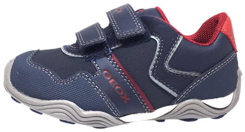 Geox Respira Boy's J Arno Leather Perforated Double Hook and Loop Sneaker Shoe inches, Navy - Just Shoes for Kids  - 2