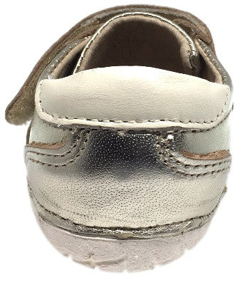 Old Soles Girl's and Boy's 4011 Sporty Pave Gold Leather Elastic Laces Hook and Loop Walker Baby Shoe Sneaker