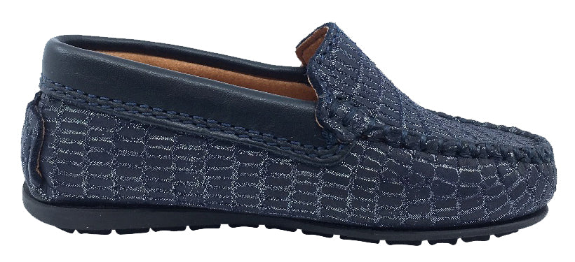 Atlanta Mocassin Girl's and Boy's Leather Loafers, Navy Blue