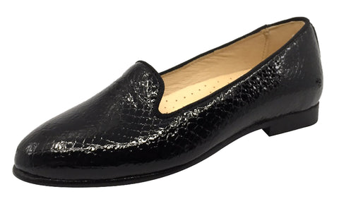Andanines  Girl's Scalloped Mary Jane, Black Pebble Patent