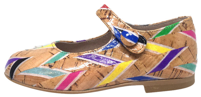 Hoo Shoes Girl's Hoova's Cork Rainbow Chevron Pattern Hook and Loop Button Mary Jane Flat Shoes