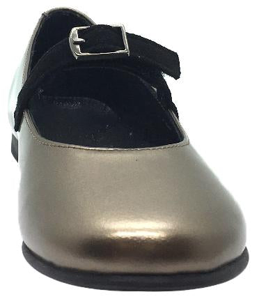 Luccini Girl's Gold Smooth Leather Mary Jane Flats with Suede Buckle Hook and Loop Strap