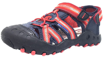 Geox Boy's Kyle Navy Blue & Red Single Hook and Loop Strap Bumper Toe Sandal