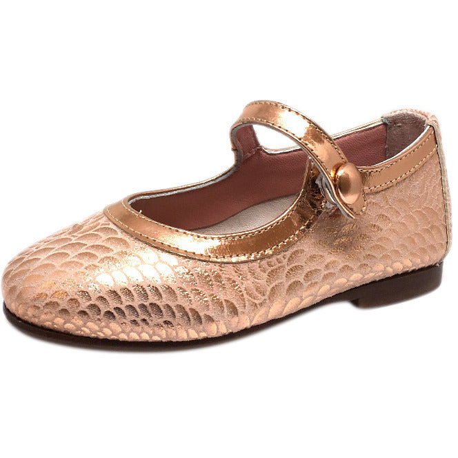 Papanatas by Eli Girl's Pink Snake Print Mary Janes Button Flats - Just Shoes for Kids  - 1