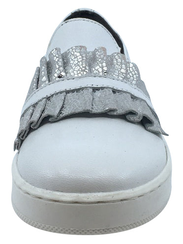 BluBlonc Girl's White Leather with Silver Snake Print Ruffle Sneaker Shoe