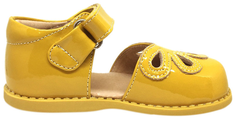 Livie & Luca Girl's Petal Yellow Patent Leather with Petal Cutout Hook and Loop Mary Jane Shoe