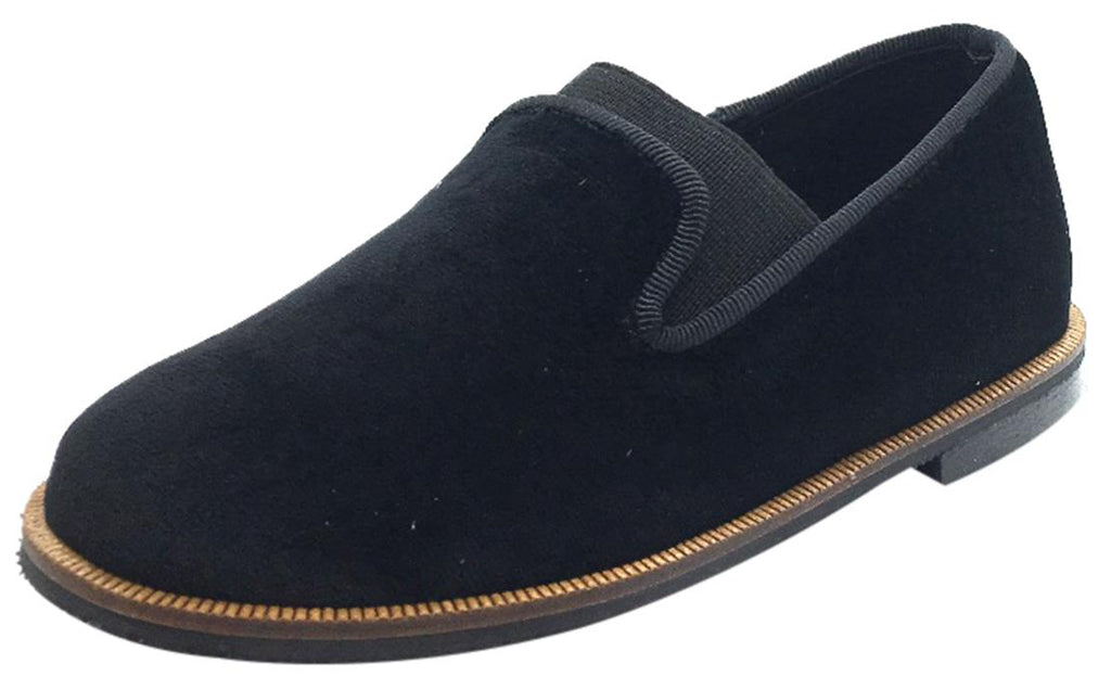 7004866eda0d Luccini Boy s   Girl s Black Velvet Leather Lined Smoking Loafer Flats
