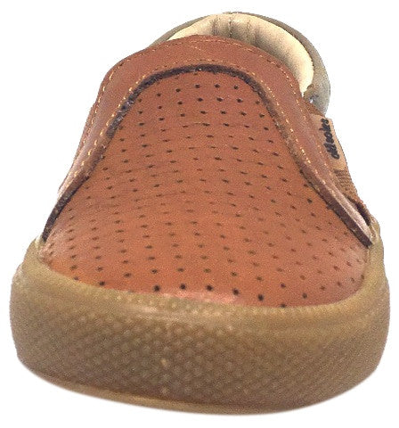 Old Soles Boy's and Girl's 1056 Tan & Grey Perforated Leather Praise Hoff Slip On Elastic Loafer Sneaker
