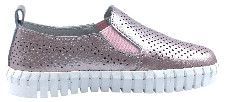 My Brooklyn Girl's Metallic Pink Leather Coney Island Sneaker