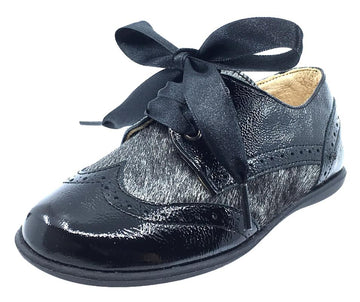 Andanines Boy's and Girl's Ribbon Tie Oxford, Black Patent/Black Poni