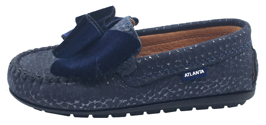 Atlanta Mocassin Girl's Leather with Velvet Bow Loafers, Navy Print/Navy Velvet Bow