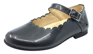 Andanines  Girl's Scalloped Mary Jane, Grey Patent