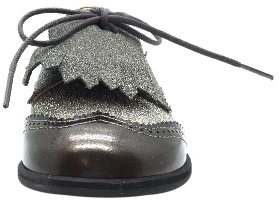Manuela de Juan Girl's & Boy's Fringe Grey Tri-Color Leather Lace Up Oxford Shoes