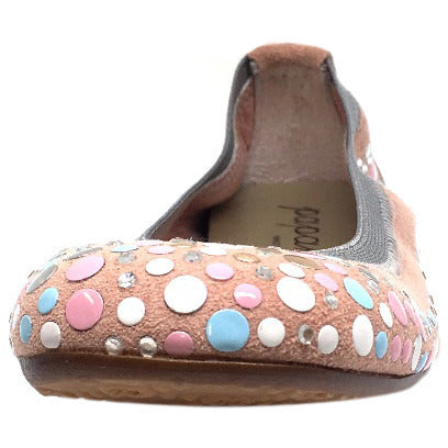 Papanatas by Eli Girl's Pink Soft Suede Gem Sparkle Polka Dot Detail Slip On Ballet Flats - Just Shoes for Kids  - 3