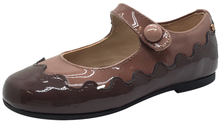Manuela de Juan Girl's Amie Mauve & Pink Patent Scallop Edge Two Tone Leather Mary Jane Flats