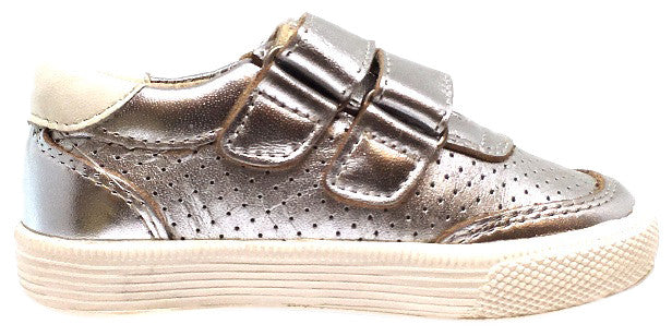 Old Soles Boy's and Girl's R-Racer Perforated Leather Double Hook and Loop Sneakers, Silver - Just Shoes for Kids  - 4