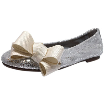 Papanatas by Eli Girl's Bright Silver Sparkle Metallic Bow Detail Slip On Ballet Flats - Just Shoes for Kids  - 1