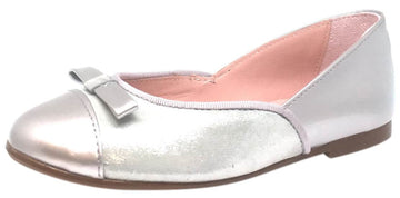 Chupetin 9371 Silver Shimmer Sparkle Patent Leather Slip On Ballerina Ballet Flats