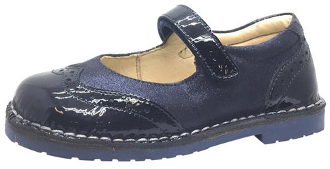 Naturino Girl's Navy Blue Single Strap Metallic Suede and Patent Leather Mary Jane Flat