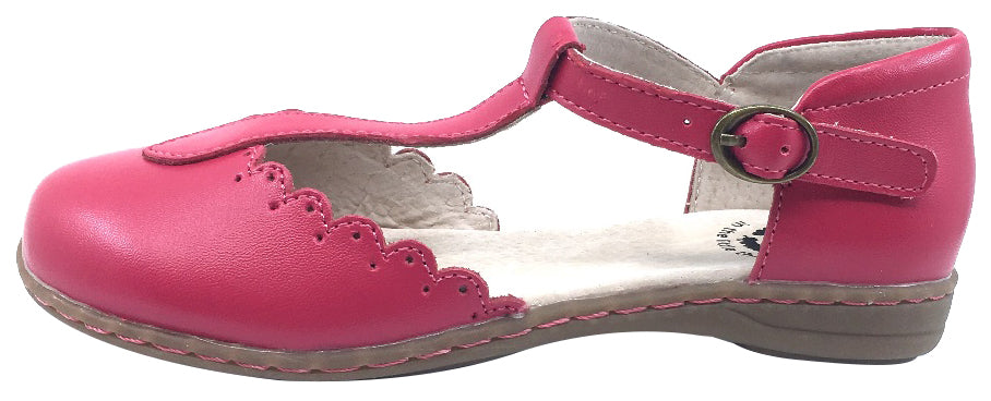 Livie & Luca Girl's Fresca Hot Pink with Scalloped Edge Trim Mary Jane Sandal Flat