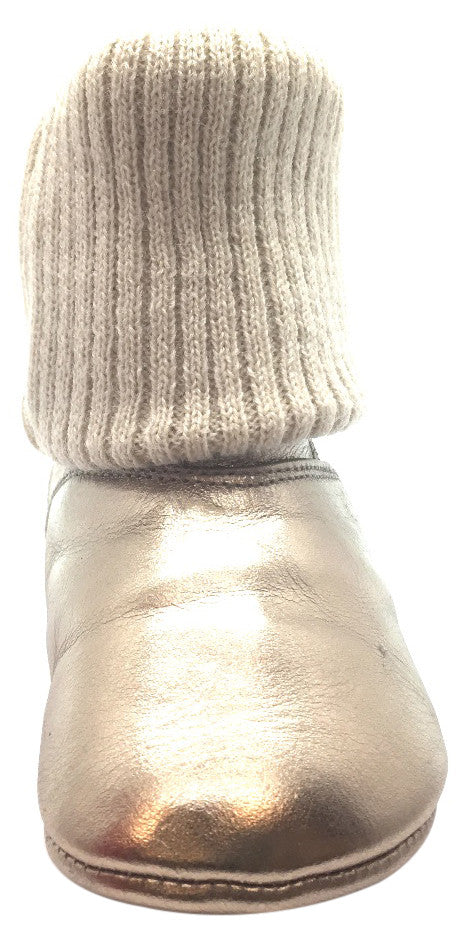 Tip Toey Joey Girl's Beany Gold Sparkle Coconut Metallic Leather and Knit Foldover Slipper Boot
