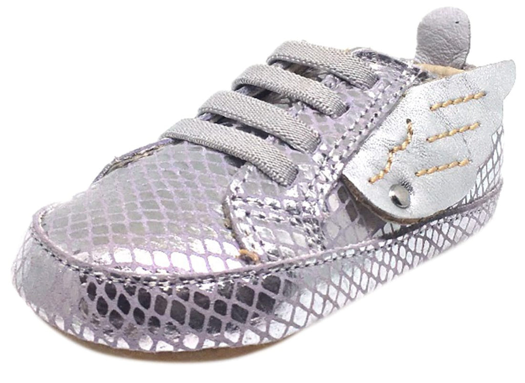 Old Soles Girl's Silver Snake Winged Leather Bambini Wings Elastic Lace Slip On Crib Walker Baby Shoe