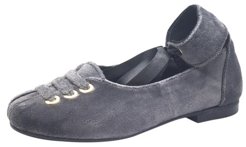 Luccini Girl's Grey Velvet Leather Lined Ankle Wrap with Ribbon Tie Dress Flats
