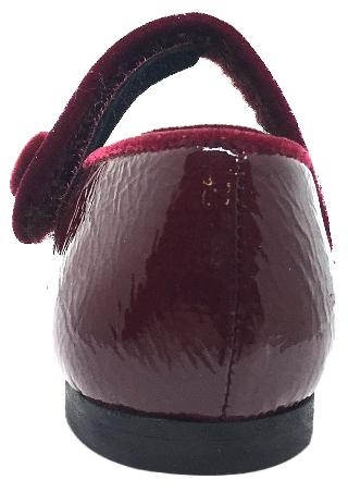 Luccini Girl's Burgundy Patent Crinkle Leather Mary Jane Flats with Trim