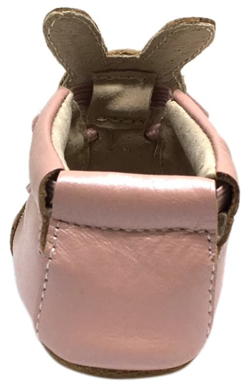 Livie & Luca Girl's Pipkin Light Pink Leather Bunny Slip On Bootie Crib Shoe
