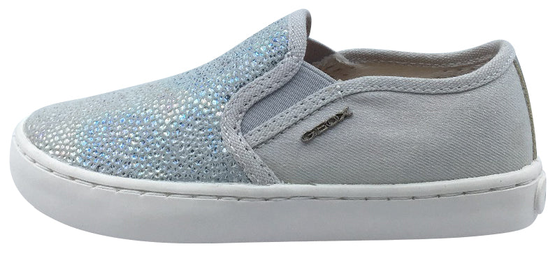Geox Girl's Kilwi Grey and Silver Slip On Sneaker Shoe