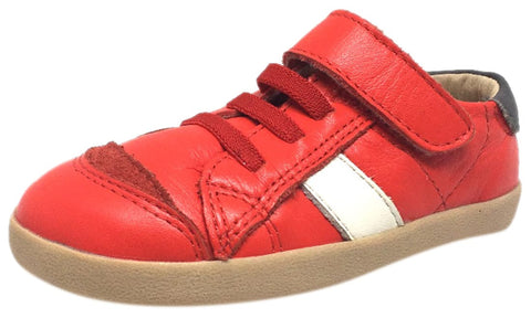 Old Soles Boy's and Girl's Red Leather DeBoy Elastic Lace Hook and Loop Side Stripe Slip On Sneaker