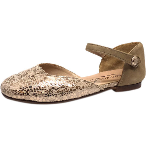 Papanatas by Eli Girl's Taupe Soft Suede Metallic Ankle Strap Ballet Flat Mary Jane - Just Shoes for Kids  - 1