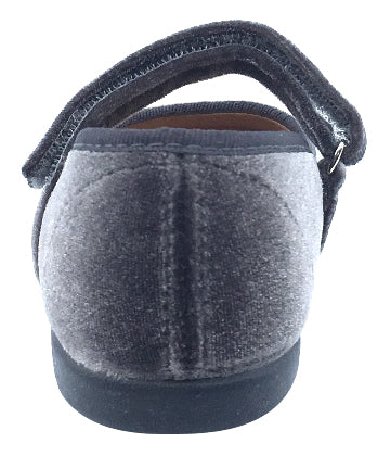 ChildrenChic Girl's Hook and Loop Mary Jane, Grey Velvet