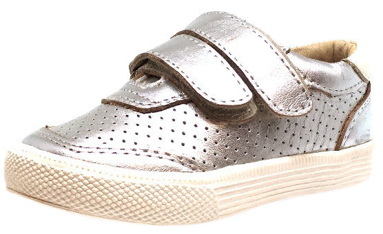 Old Soles Boy's and Girl's R-Racer Perforated Leather Double Hook and Loop Sneakers, Silver - Just Shoes for Kids  - 1