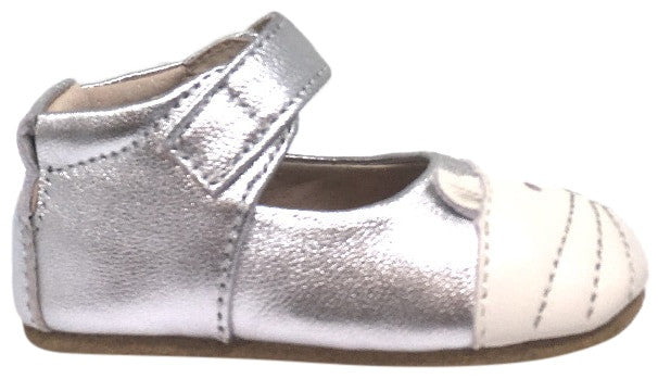 Livie & Luca Girl's Kitten Platinum Silver Smooth Leather Kitten Character T-Strap Shoe with Hook and Loop Closure
