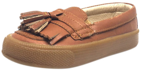 Old Soles Boy's and Girl's Tan Leather Domain Hoff Slip On Tassel Loafer Sneakers