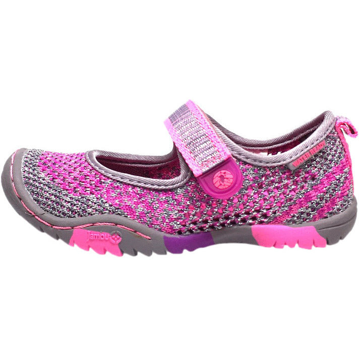 Jambu Girl's Sora Sparkle Knit Mesh Hook and Loop Water Ready Mary Jane Shoe inches - Just Shoes for Kids  - 2