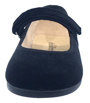 ChildrenChic Girl's Hook and Loop Mary Jane, Black Velvet