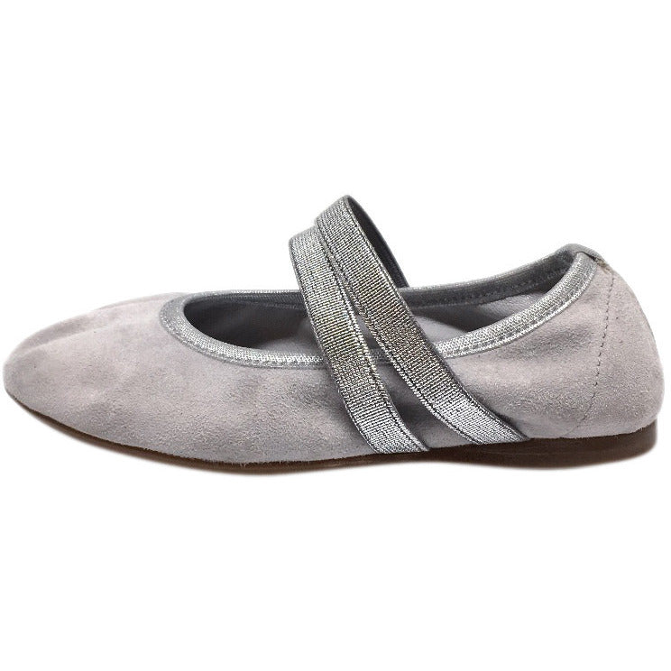 Papanatas by Eli Girl's Silver Grey Double Elastic Soft Suede Slip On Mary Jane Ballet Flats - Just Shoes for Kids  - 2