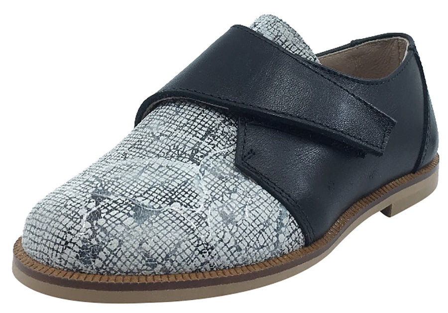 Hoo Shoes Boy's & Girl's Dee's Black with White Printed Leather Single Hook and Loop Tab Oxford Shoe
