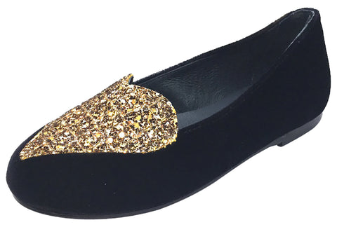 BluBlonc Girl's Black Velvet Ballet Flat with Gold Sparkle Heart Embellishment