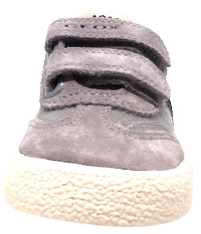 Geox Respira Boy's Suede and Canvas Double Hook and Loop Skater Sneaker Shoes inches, Grey/Navy - Just Shoes for Kids  - 5