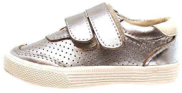 Old Soles Boy's and Girl's R-Racer Perforated Leather Double Hook and Loop Sneakers, Silver - Just Shoes for Kids  - 2