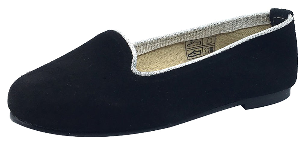 ChildrenChic Girl's Ballet Flat, Black Suede with Silver Piping Trim
