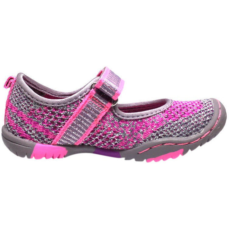 Jambu Girl's Sora Sparkle Knit Mesh Hook and Loop Water Ready Mary Jane Shoe inches - Just Shoes for Kids  - 4