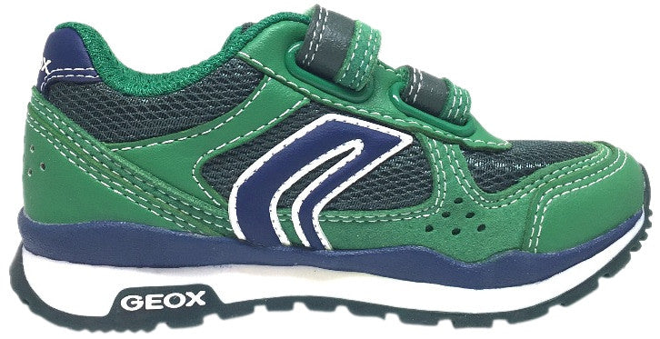 Geox Boy's Pavel Green & Navy Double Hook and Loop Strap Sneaker