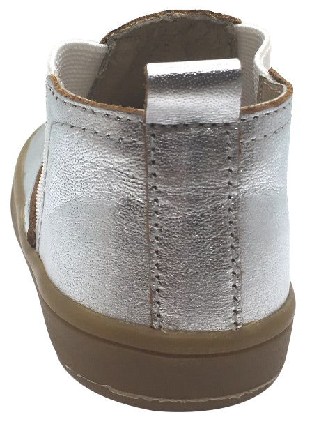 Old Soles Girl's and Boy's Town Local Silver Smooth Leather Slip On High Top Ankle Boot Sneaker